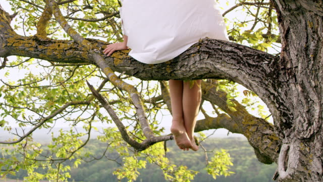 SLO MO Woman in white shirt sitting on a tree