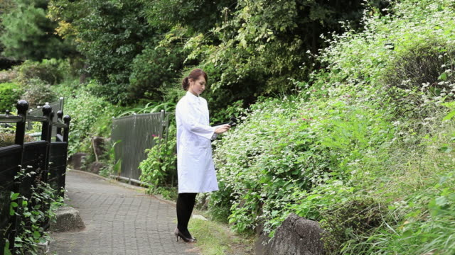MS Woman inspecting  plants with measuring instrument / Shibuya, Tokyo, Japan
