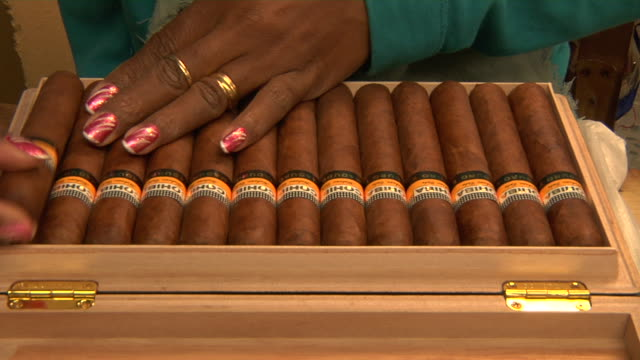 a woman inspects a box filled with cohiba cigars. - cigar stock videos & royalty-free footage