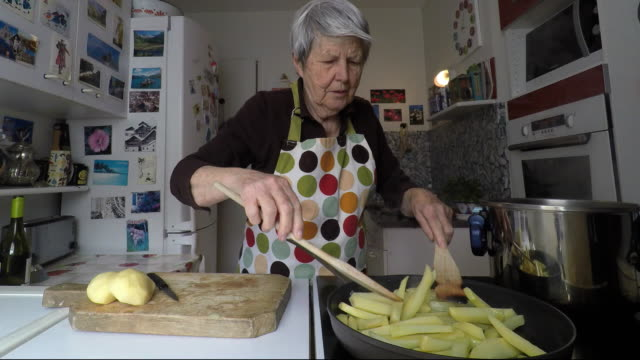woman is cooking