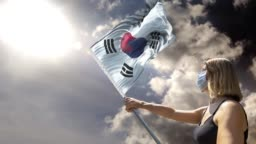 Woman is Holding Flag Pole with South Korean Flag While Wearing Mask Against Coronavirus Covid-19 in 4K Resolution