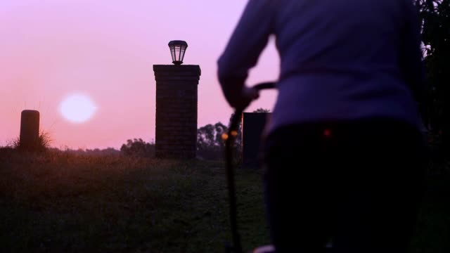 woman is mowing yard in the morning at sunrise - mowing stock videos & royalty-free footage