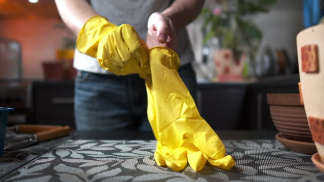 woman is putting on the gloves for planting pot flowers at home - glove stock videos & royalty-free footage