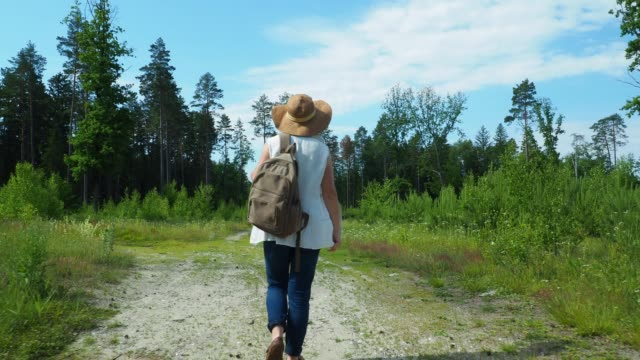 woman is walking on the forest road - behind stock videos & royalty-free footage