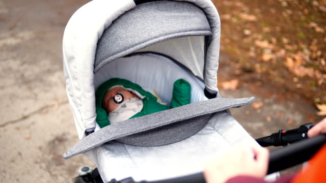 woman is walking with a baby in a stroller in the park - carriage stock videos & royalty-free footage
