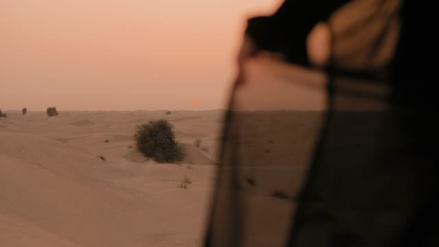 woman is watching the sunset in the desert - sand stock videos & royalty-free footage