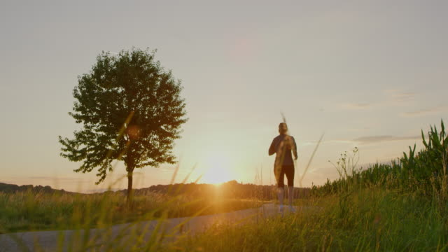 slo mo woman jogging at sunset - slovenia meadow stock videos & royalty-free footage