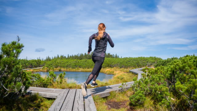 Woman jogging in nature on a wooden pathway among pine bushes next to a lake, rear view
