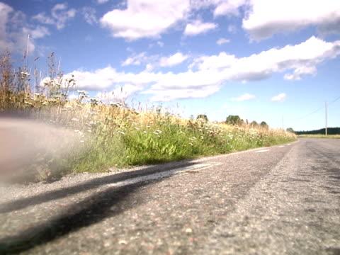 a woman jogging next to a corn field sweden. - joggerin stock-videos und b-roll-filmmaterial