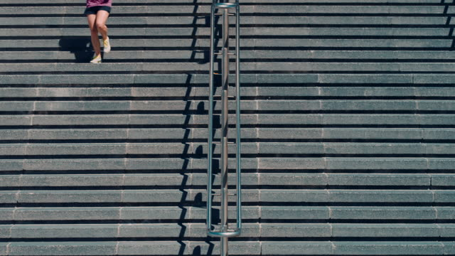 Woman jogging on stairs