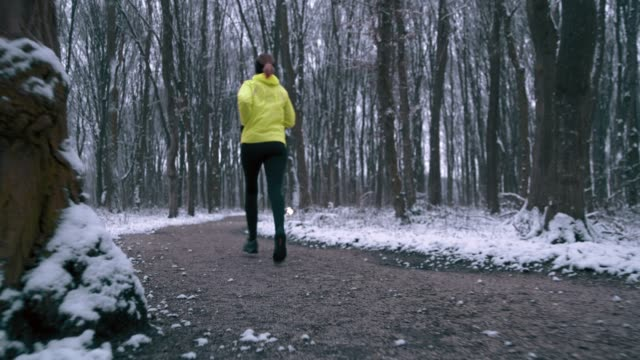 WS Woman jogging through the forest