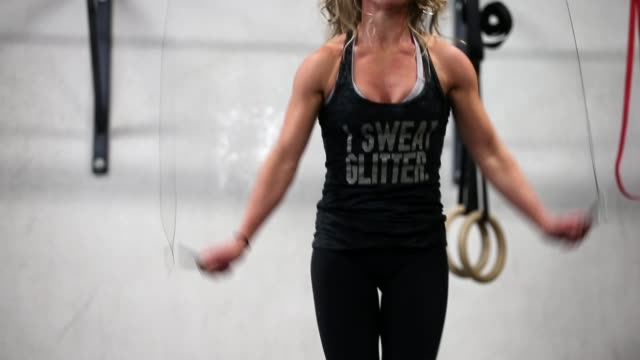 MS woman jump roping Class participants workout during a CrossFit class at Ross Valley CrossFit on March 14 2014 in San Anselmo California CrossFit a...