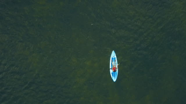 vidéos et rushes de femme kayak dans une plage tropicale dans les caraïbes - île de grand cayman - vue aérienne - kayak sport
