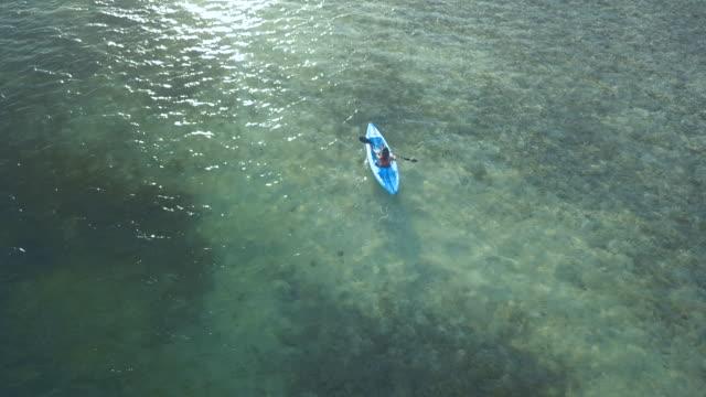 vídeos y material grabado en eventos de stock de mujer en una playa tropical en vista aérea del caribe - isla de gran caimán - kayak - kayak barco de remos