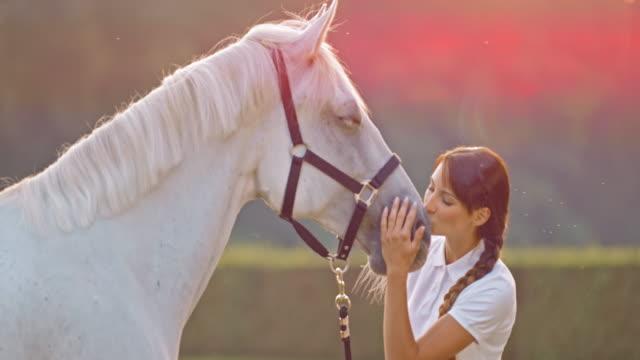 vídeos y material grabado en eventos de stock de de san luis obispo missouri mujer besando a caballo en la nariz en prado - camisa de polo