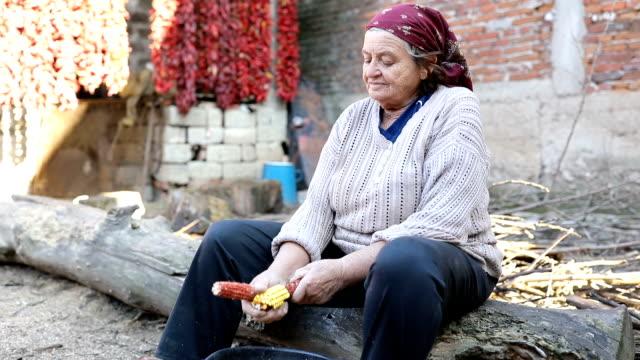 A woman kneels corn