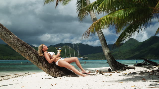 woman leaning against a palm tree in a white bikini - isola di tahaa video stock e b–roll