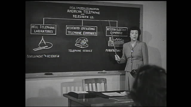 "woman lecturing classroom full of girls and points at the diagram on the blackboard; diagram: ""bell system organization american telephone and... - 1940 1949 stock videos & royalty-free footage"