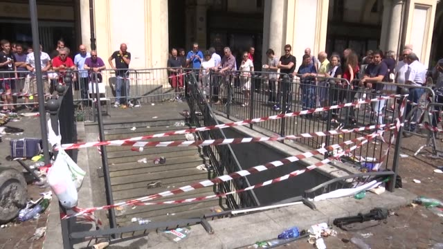 a woman left in a coma after a crowd stampede in turin at a screening of the champions league final on june 3 has died the hospital where she was... - stampeding stock videos & royalty-free footage