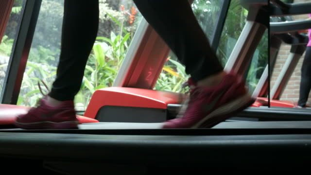 woman leg Running on Treadmill