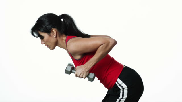 ms woman lifting weights, against white background / orem, utah, usa - pacific islander background stock videos & royalty-free footage
