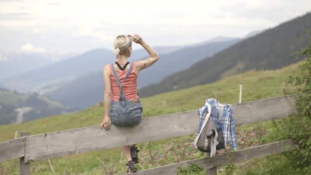Woman looking at mountain view