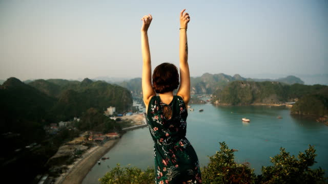 woman looking at scenic view of halong bay - eroded stock videos & royalty-free footage