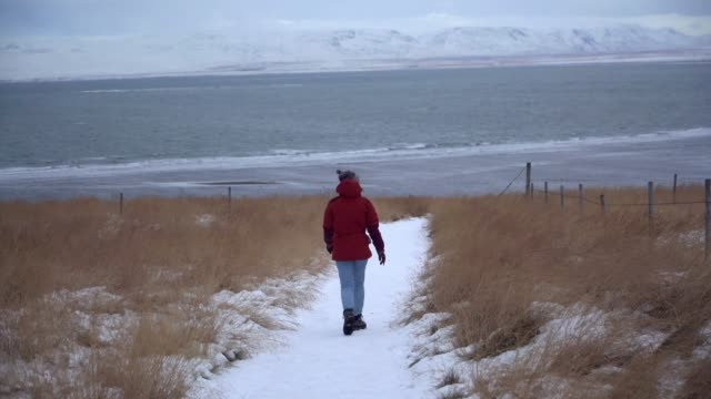 Woman looking at  Westfjords in Iceland in winter