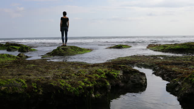 woman looking out to sea - tide out stock videos & royalty-free footage
