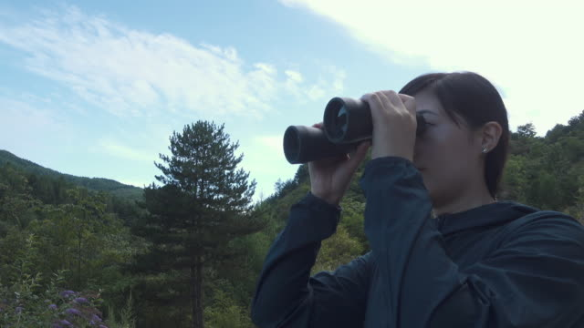 vídeos de stock, filmes e b-roll de woman looking outside - looking through an object