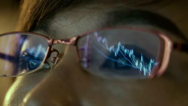 stockvideo's en b-roll-footage met vrouw die beursgegevens op groot scherm kijkt - capital letter