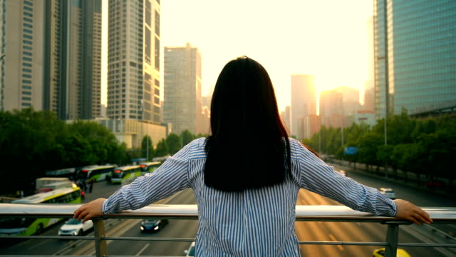 woman looking the beautiful city sunset - rear view stock videos & royalty-free footage