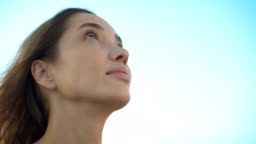 Woman Looking Up To Sky With Hope Pray Prayer