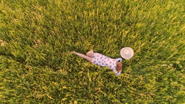 AERIAL Woman lying in grass in the countryside