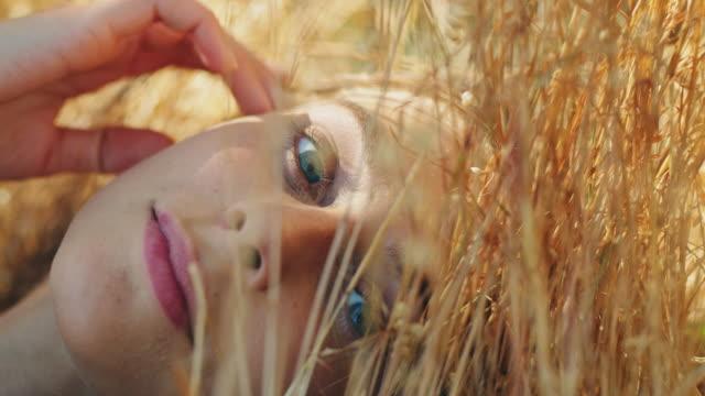 vídeos de stock, filmes e b-roll de mulher deitada no prado - prado