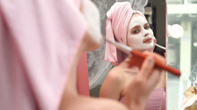 woman mask applied during spa facial treatment - 2010 stock videos & royalty-free footage