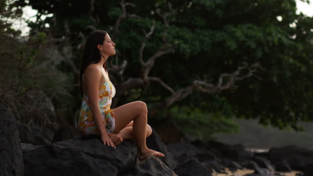 stockvideo's en b-roll-footage met woman meditating at the beach - tropische boom