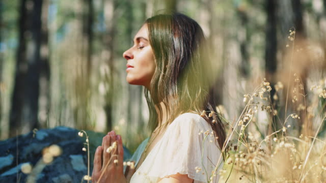 woman meditating in forest - buddhism stock videos & royalty-free footage