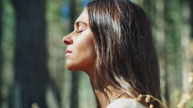 woman meditating in forest - serenità video stock e b–roll