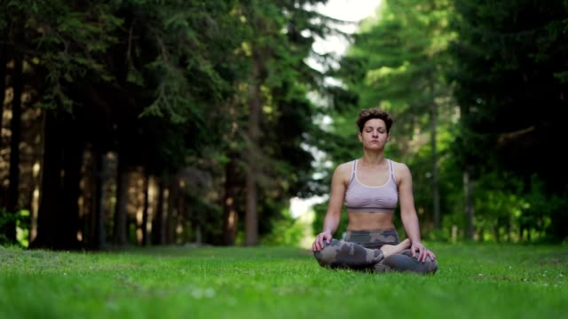 woman meditating in nature - mudra stock videos & royalty-free footage