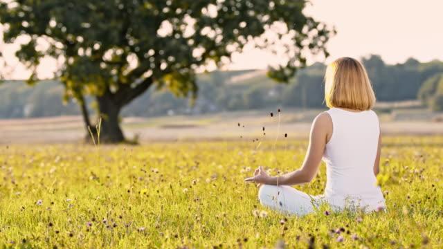 stockvideo's en b-roll-footage met ds vrouw mediteren op het platteland - lotuspositie