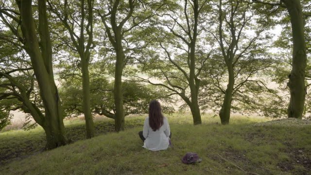 a woman meditating under the beech trees on one of the avebury barrows - avebury stock videos & royalty-free footage