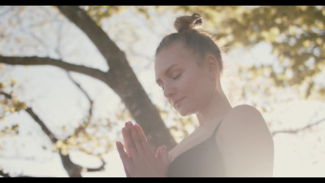 woman meditating under tree in sun - mourning stock videos & royalty-free footage