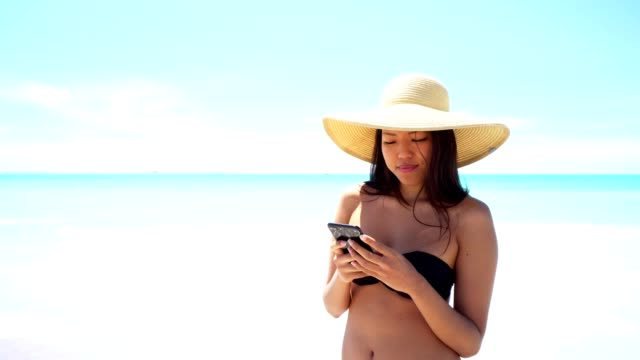 woman messaging at the seaside - cappello video stock e b–roll