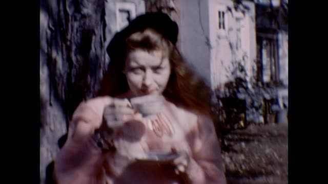 1953 woman modeling and flirting in front yard - tea cup stock videos & royalty-free footage