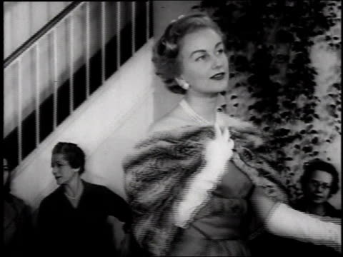 1957 woman modeling chinchilla stole in fashion show  - fashion show stock videos & royalty-free footage