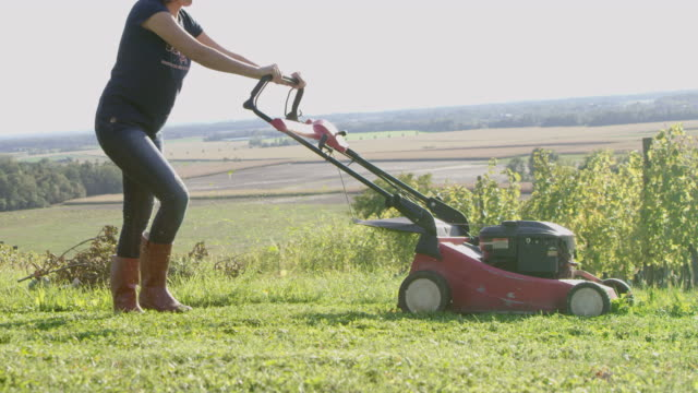 slo mo woman mowing the grass in a vineyard - lawn mower stock videos and b-roll footage
