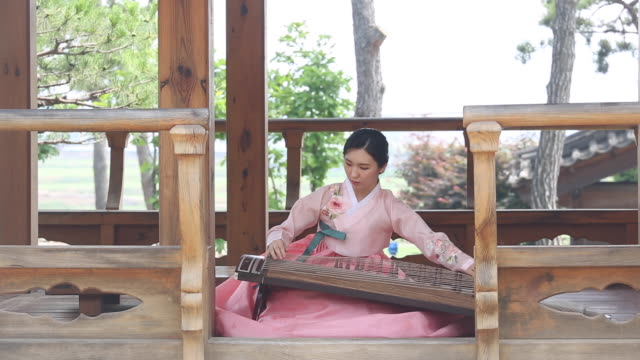 a woman musician playing a gayageum (korean zither with twelve strings) dressed in hanbok (korean traditional clothes) in the gazebo - gazebo stock videos & royalty-free footage