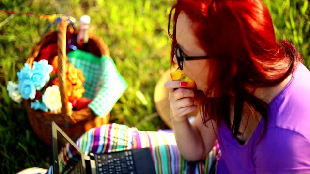 woman on a picnic - picnic basket stock videos and b-roll footage