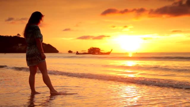 Woman on Beach at Sunset, Thailand
